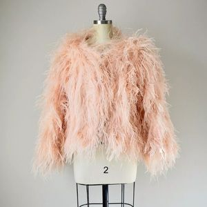 Very rare 1950s peach ostrich feather jacket